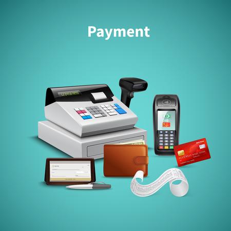 Illustration pour Payment processing on pos terminal wallet with money cash register  realistic composition on turquoise background vector illustration - image libre de droit