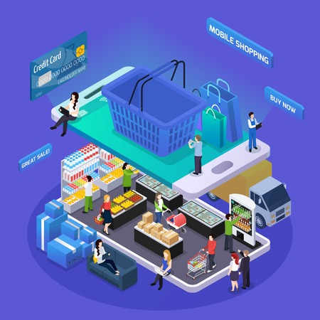 Illustration pour E-commerce shopping glow isometric composition online grocery store on mobile device screen basket customers vector illustration - image libre de droit