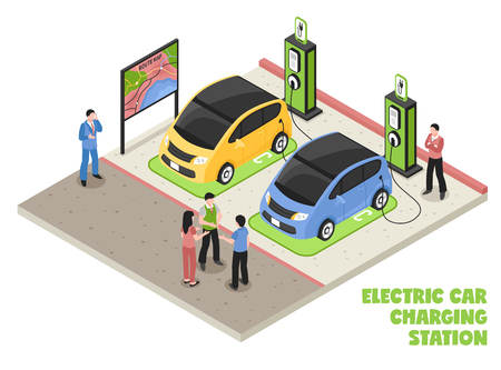 Ilustración de Electric car charging station isometric composition with employee and clients waiting for their cars be serviced vector illustration - Imagen libre de derechos