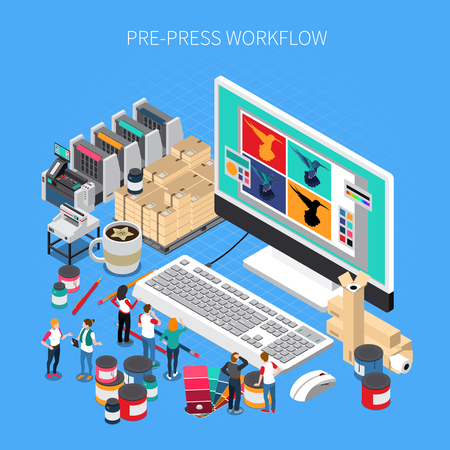 Illustration pour Printing house isometric composition with digital prepress workflow technology software design on desktop computer monitor vector illustration - image libre de droit