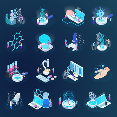 Illustration pour Scientists during nano technology development set of isometric icons isolated on dark gradient background vector illustration - image libre de droit