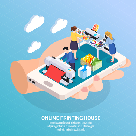 Illustration pour Advertising agency online isometric composition with printing house on smartphone screen in human hand poster vector illustration - image libre de droit