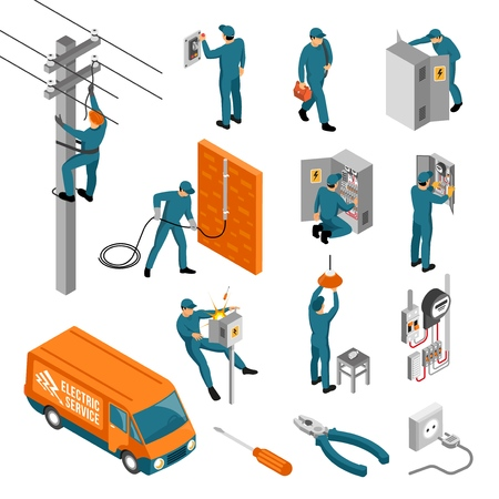 Ilustración de Isometric electrician profession set of isolated icons with tools electrical facilities and human characters of workers vector illustration - Imagen libre de derechos