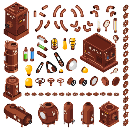 Illustration for Steampunk art constructor isometric  collection of design elements inspired by 19th century steam powered machinery vector illustration - Royalty Free Image