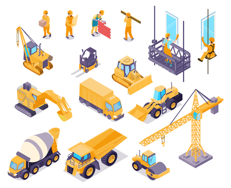 Ilustración de Construction isometric icons set with workers and various equipment for house building isolated on white background 3d vector illustration - Imagen libre de derechos