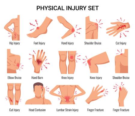 Ilustración de Human body parts physical injury flat set with head contusion elbow bruise open cut wounds vector illustration - Imagen libre de derechos