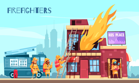 Illustration pour Firefighter horizontal composition with outdoor scenery and flat images of burning urban building and fire brigade vector illustration - image libre de droit