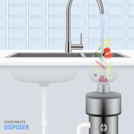 Illustration pour Kitchen sink with slices of vegetables falling with water into food waste disposer realistic vector illustration - image libre de droit