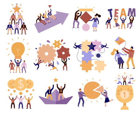 Illustration for Effective teamwork in workplace 12 cartoon compositions of successful team members cooperation trust goals commitment vector illustration - Royalty Free Image