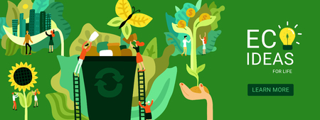 Illustration pour Ecological restoration header eco ideas for environmental recovery on green background flat vector illustration - image libre de droit