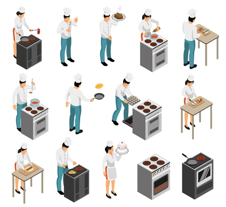 Illustration for Professional kitchen range equipment cook chef food preparation waiter service isometric elements icons set isolated vector illustration - Royalty Free Image