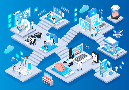 Illustration pour Telemedicine glow isometric infographic elements composition with smart portable devices remote monitoring consulting tests prescriptions vector illustration - image libre de droit