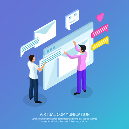 Illustration pour Virtual communication isometric background poster with two men sending and opening email text messages symbols vector illustration - image libre de droit