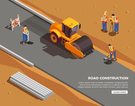 Ilustración de Builders and surveyors with machinery and warning signs during road construction isometric composition vector illustration - Imagen libre de derechos