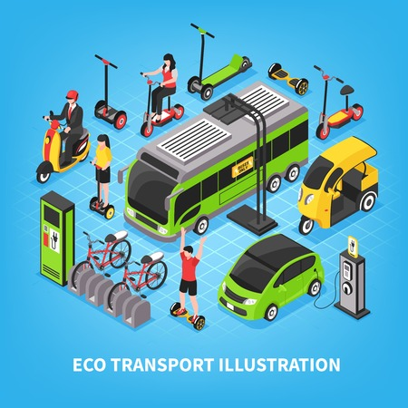 Illustration for Eco transport isometric vector illustration with city bus electric cars bicycle parking people riding gyro and scooter - Royalty Free Image
