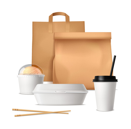 Illustration pour Fast food package design concept with paper bags plastic containers and glasses for drinks and ice cream realistic vector illustration - image libre de droit