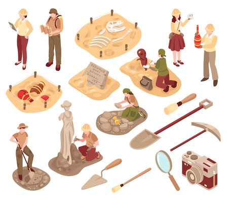 Illustration for Archeology isometric set scientists with professional equipment during research of ancient artifacts isolated vector illustration - Royalty Free Image