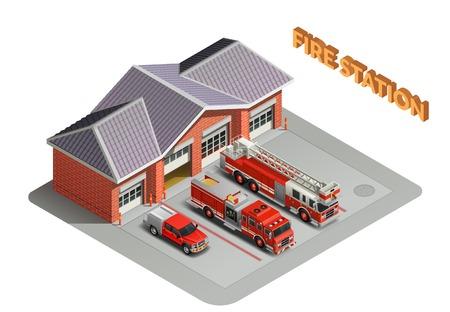 Illustration pour Fire station transport garage engines realistic isometric composition with building and trucks vehicles appliances outdoor vector illustration - image libre de droit