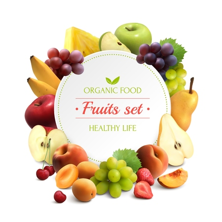 Foto de Organic food colorful background with fruits frame and round place for text realistic vector illustration - Imagen libre de derechos