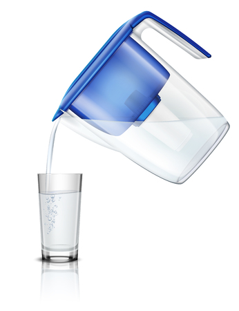 Illustration pour Pouring water in glass out household filter pitcher through carbon cartridge realistic composition purification process  illustration - image libre de droit