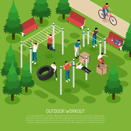 Illustration pour Workout at sports equipment with jumps wheel lifting pull ups in summer park isometric vector illustration - image libre de droit
