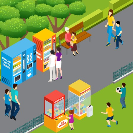 Illustration pour Adults and children using vending machines and toy catchers walking and playing in park 3d isometric vector illustration - image libre de droit