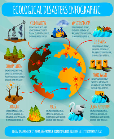 Illustration pour Ecological problems flat infographics with earth planet and environmental disasters on blue background vector illustration - image libre de droit
