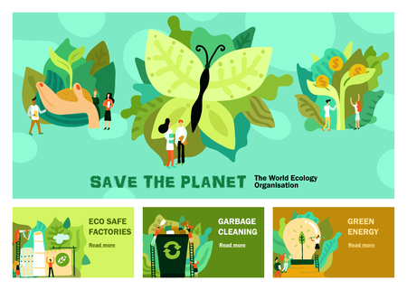 Illustration pour Environmental restoration set of horizontal banners with green energy garbage cleaning eco safe factory isolated vector illustration - image libre de droit