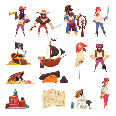 Illustration pour Pirate set of isolated icons with cartoon images of ships maps and skeleton symbols with people - image libre de droit