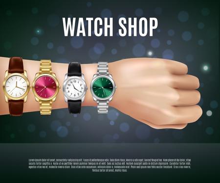 Illustration pour Jewelry realistic composition with watch shop headline men s hand and four different watches vector illustration - image libre de droit