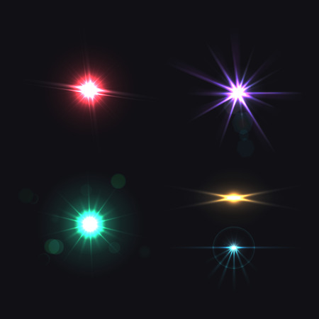 Illustration pour Lens bright effects realistic colored set isolated vector illustration - image libre de droit