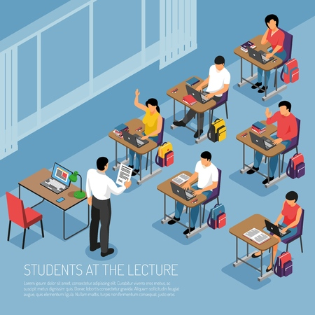 Ilustración de Higher education students taking notes at tutorial lecture participating in seminar seminar classes isometric composition vector illustration - Imagen libre de derechos