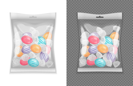 Illustration for Realistic transparent lollypop candy package set isolated vector illustration - Royalty Free Image