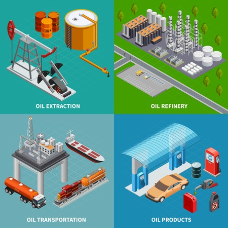 Illustration pour Oil industry extraction equipment refinery and transportation 2x2 colorful isometric concept 3d isolated vector illustration - image libre de droit