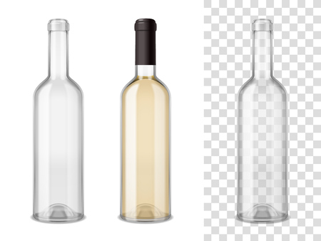 Illustration pour Empty and sealed by cap filled wine glass bottles realistic set on white and transparent mixture backgrounds vector illustration - image libre de droit