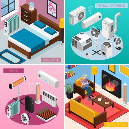 Ilustración de Smart home climate concept 4 isometric interior compositions with automated heating radiator air conditioner fireplace vector illustration - Imagen libre de derechos