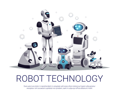 Illustration pour Next generation robots future technology flat composition with humanoid automated helpers and remote controlled pets vector illustration - image libre de droit