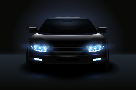 Illustration for Car led lights realistic composition with dark silhouette of automobile with dimmed headlights and shadows vector illustration - Royalty Free Image