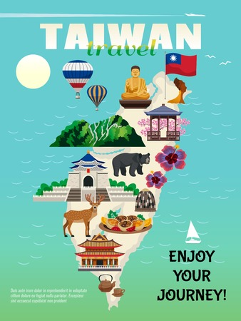 Taiwan travel country cultural map flat advertisement poster with national food sightseeing landmarks attractions symbols vector illustration
