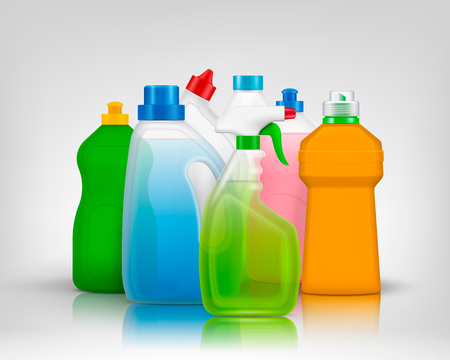Illustration pour Detergent color bottles composition with realistic images of colourful bottles filled with washing soap with shadows vector illustration - image libre de droit