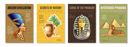 Illustration pour Egypt posters set with images of pharaoh tomb mysterious pyramid and ancient artifacts cartoon vector illustration - image libre de droit