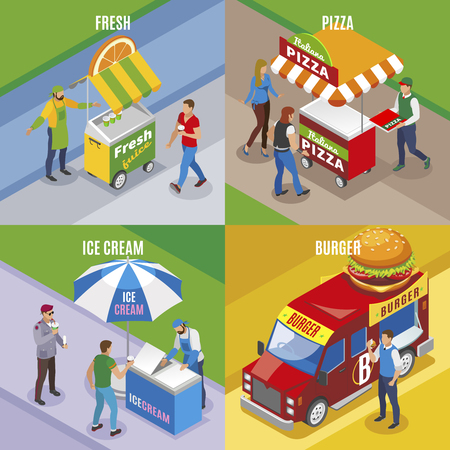 Illustration pour Street food isometric design concept with fresh juice pizza ice cream and burger isolated vector illustration - image libre de droit