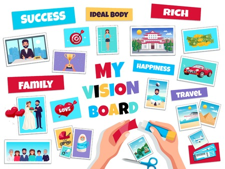 Vektor für Dreams vision board concept with success and travel symbols flat isolated vector illustration - Lizenzfreies Bild