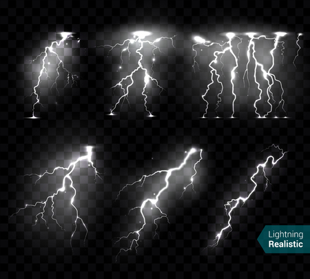 Illustration pour Realistic lightning bolts flashes white images collection of isolated monochromatic thunderbolts on transparent background with text vector illustration - image libre de droit