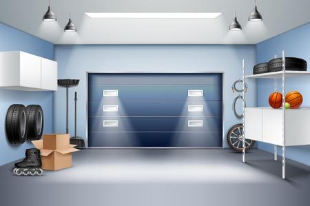 Illustration pour Modern spacious garage interior realistic composition with storage cabinets racks roller skates tires sliding door vector illustration - image libre de droit
