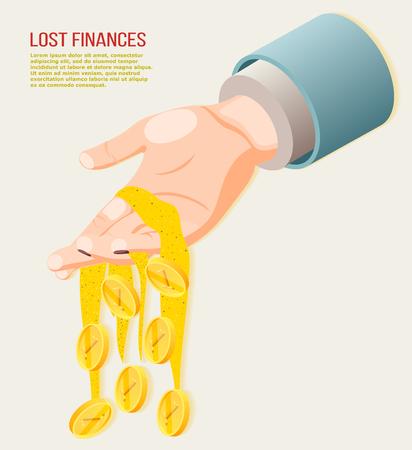 Illustration pour Lost finances isometric concept with coins falling from human hand 3d vector illustration - image libre de droit
