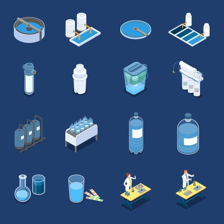 Illustration pour Water cleaning systems isometric icons with industrial purification equipment and home filters - image libre de droit