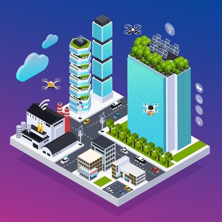 Illustration pour Smart city composition with eco technology symbols isometric vector illustration - image libre de droit