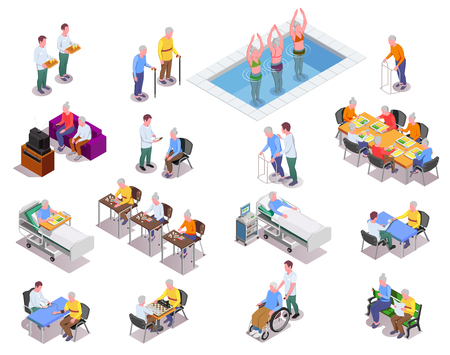 Illustration for Nursing home isometric icons set with staff  monitoring patients - Royalty Free Image