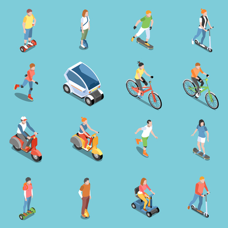 Illustration pour Personal eco transportation icons set with bicycle and scooter isometric isolated vector illustration - image libre de droit